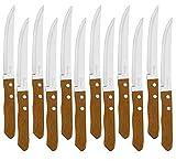 Juego de 12 Cuchillos de mesa con mango de madera natural, Cuchillo de Carne Acero...