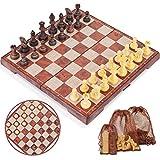 Peradix ajedrez magnetico Plegable,Juegos de Mesa Tablero de Ajedrez con Caja Set...