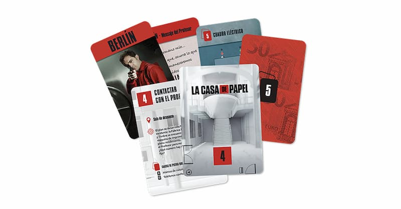 cartas del juego de mesa la casa de papel escape game